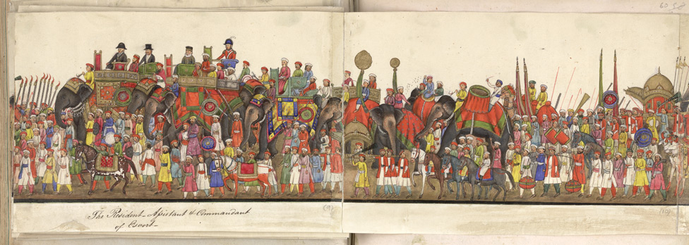A panorama in 12 folds showing the procession of the Emperor Bahadur Shah to celebrate the feast of the 'Id. f. 59v-E